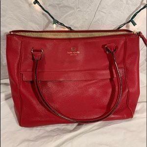 Red leather Kate Spade purse